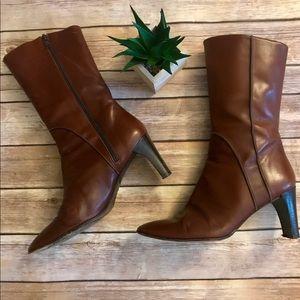 Banana Republic Brown Leather Mid-Calf Heeled Boot