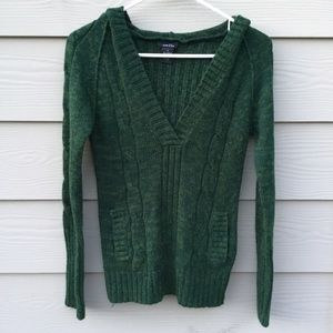 RUE 21 green v-neck hoodie knit top Size S