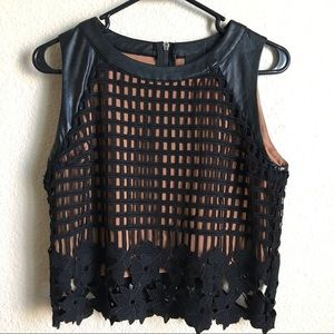 NWOT Faux Leather Crop Top