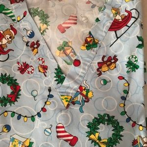 Holiday scrub top