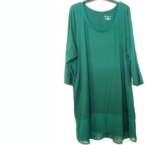 Lane Bryant 22/24 Green Chiffon Trim Knit Tunic