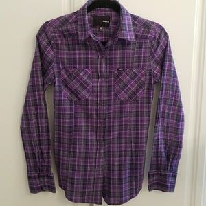 Hurley Purple and Black Button Down Top
