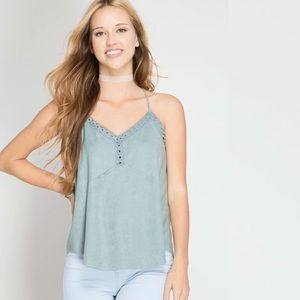 Tops - Suede Eyelet Lace Trim Cami