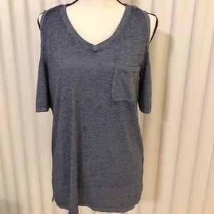 Seven 7 blue distressed cold shoulder blouse