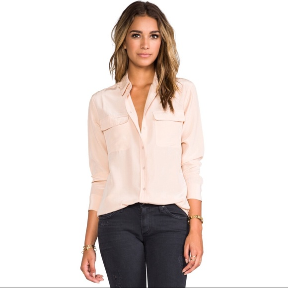 aa9f7ff54eff06 Equipment Tops - Equipment Signature Silk Blouse in Nude