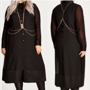 City chic plus size 22 body chain black long dress