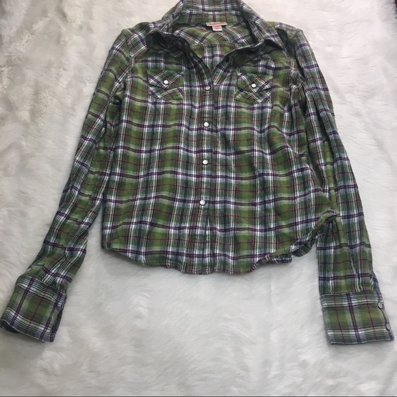 Mossimo Supply Co Green Flannel Plaid Button Down Shirt