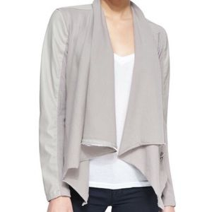 Blank NYC grey faux leather waterfall jacket
