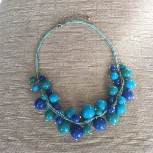 Blue beaded statement necklace