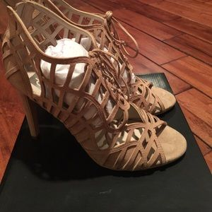 DV Dolce Vita Nude Suede cage heal shoe.