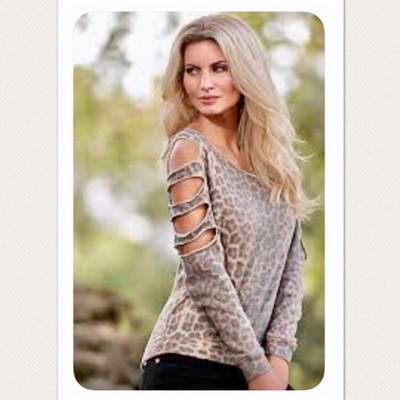 964c7ebb60 Venus Cold Shoulder Distressed Leopard Print Top. M 59bdc9c9bf6df51cd005a6e4