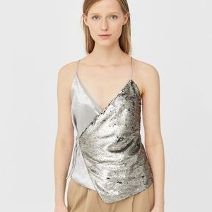 Sequined silk strap top