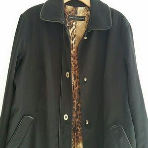 Dana Buchman Black Trench Coat sz XL