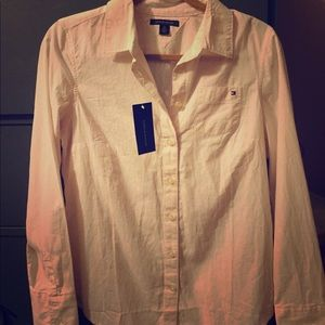 Pink and White striped Tommy Button up