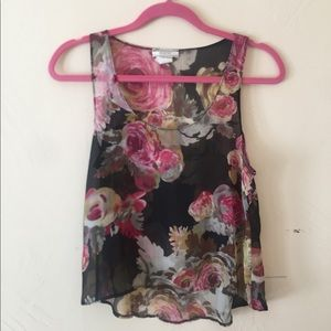 Tops - Black shear floral Tank Top