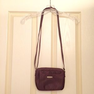 Burgundy shimmery Multi Sac mini cross-body purse