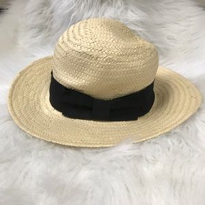 H&M STRAW BLACK BOW FEDORA HAT SIZE SMALL CUTE