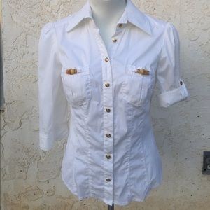 Bebe White Button up Top Size: Small. NWOT
