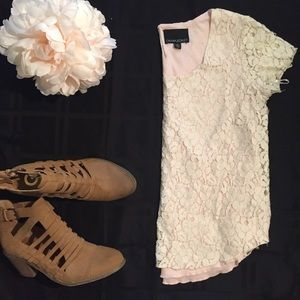 Cynthia Rowley Lace Overlay Short Sleeve Top