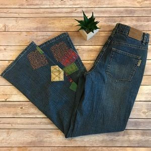 Coldwater Creek Patchwork Fabric Embroidered Jean