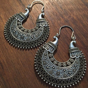 Jewelry - Tibetan Silver Carved Moon Drop Statement Earring