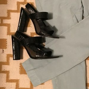 YSL black high heeled sandals patent leather
