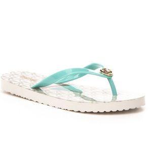 MK Tan & Turquoise Sailboat Flip Flops