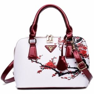 Handbags - Floral Printed Handbag - Red