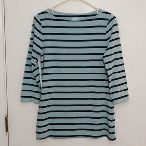 Merona aqua/navy stripe 3/4 sleeve tunic boatneck