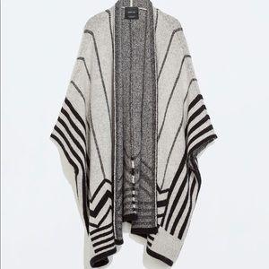 Zara Knit Poncho Open Front Sweater