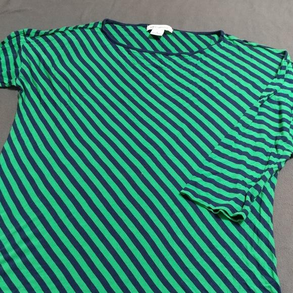 12a9b191 Liz Claiborne Tops | Blue And Green Angle Striped 34 Tshirt | Poshmark
