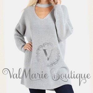Grey Choker Knit Sweater