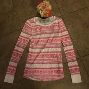 Old navy pink and white thermal top