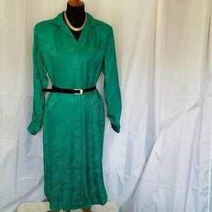 VINTAGE EMERALD GREEN 100% SILK SHIRT DRESS 10