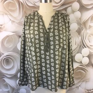Sonoma Shirt Top Casual Olive Green Ivory Foxes XL