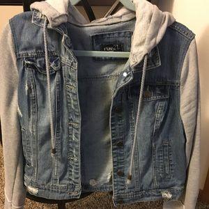Denim sweater jacket