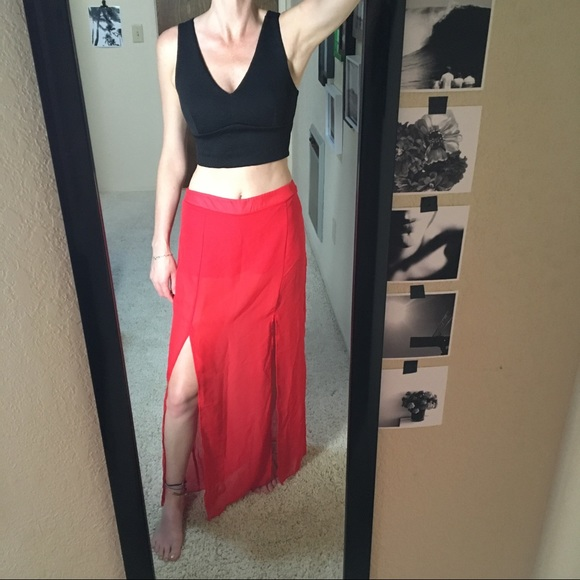 2614f536b Dresses & Skirts - 🔥 Red Shorts with Sheer Maxi Skirt Overlay