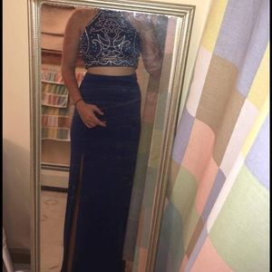 Blue and silver two piece prom / homecoming dress