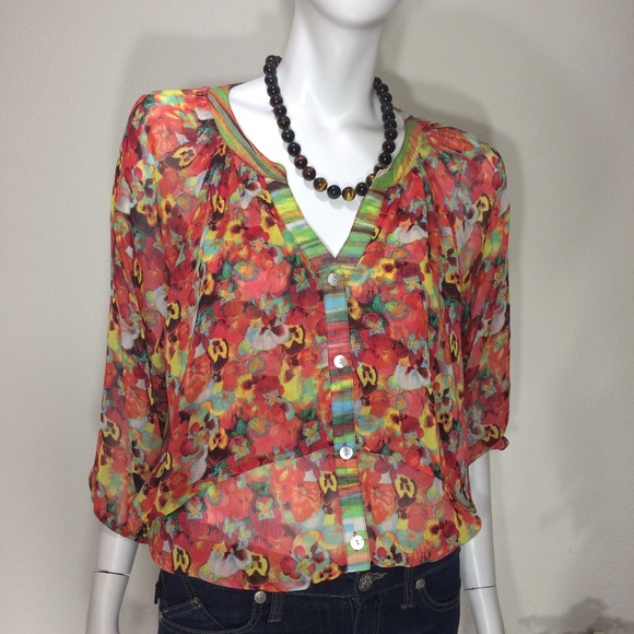 Floral Fig And Flower Blouse Poshmark