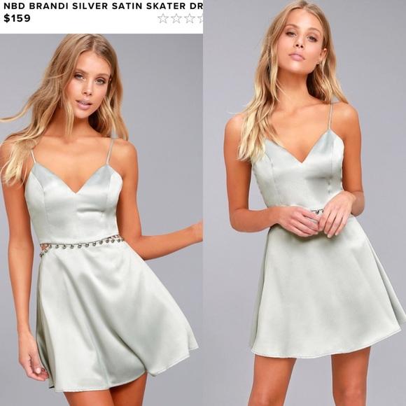 b9ccf48c74 NBD Silver Satin Skater Dress