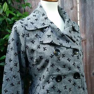 Velvet Bows Print Double Breasted Blazer