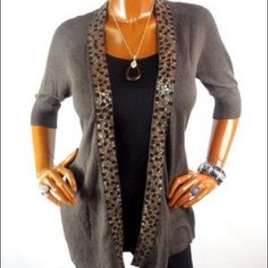 Express flowy sequined cardigan, small