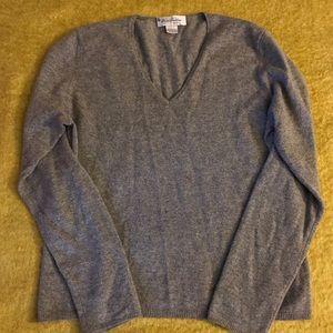 Brooks Brothers Pure Cashmere Grey V Neck Sweater