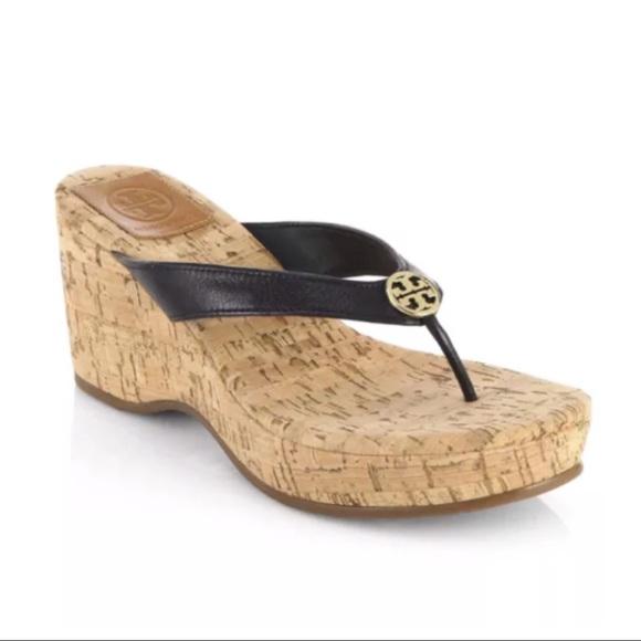 3877468a244 Tory Burch Suzy Cork Wedge Sandals Flip Flops. M 59bdec1199086aae7706581d