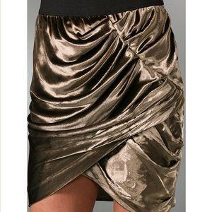 Elizabeth & James gold crushed velvet mini skirt
