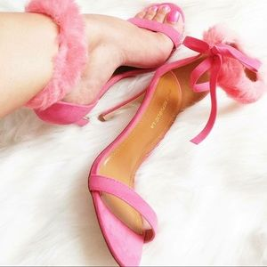 Pink Heels with Furry Ankle Strap