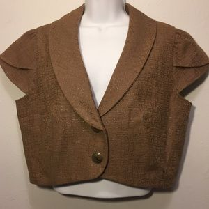 Mossimo cropped Blazer. Taupe with gold shimmer XL