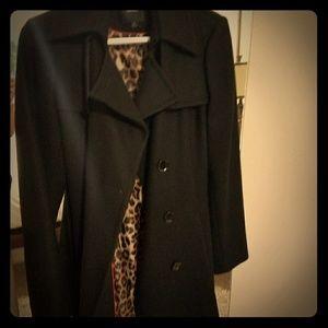 Black long with leopard interior coat