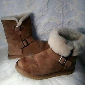 Shoes - Real Sheepskin buckle booties