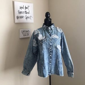 Jackets & Blazers - Vintage Oversized Jean Jacket Embroidered w/ Lace